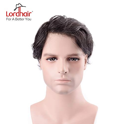 Lordhair Toupee for Men With 100% Human Hair 0.03mm Supper Thin Skin Super Realistic Color 1B20(17 Colors Available) ()