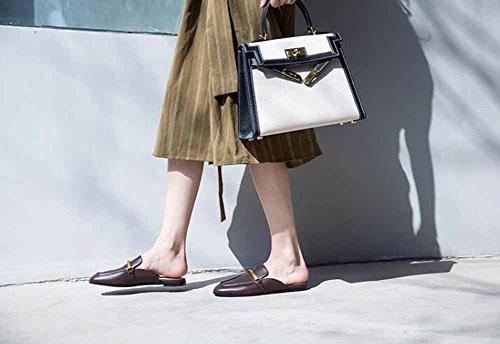 Casual con Scarpe sandali Brown Estate Donna metallo sandali piatti con tacco fibbia piatti Novità 2018 Primavera in 8dF8wfSq5