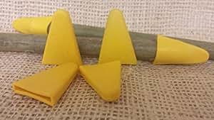 100x Yuzet amarillo Triangular de goma caña de jardín protección ocular Topper tapas