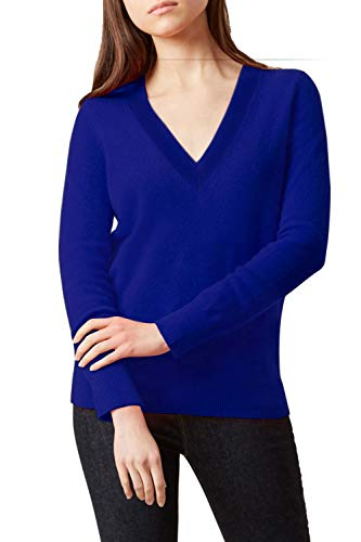 - ALBIZIA Women's V-Neck Cashmere Ribbed Knited Pullover Sweaters S Royal Blue