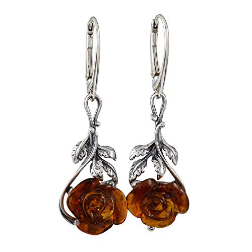 Sterling Silver and Baltic Honey Amber Leverback Earrings