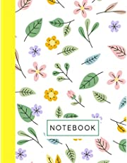 Floral Notebook: Nature Inspired - Leaves and Flowers Lined Notebook, Journal, Composition Book   8.5 x 11 Large