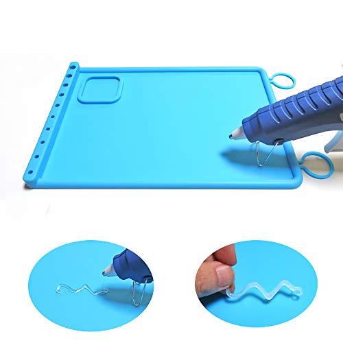 SHOR Premium Hot Glue Gun mat Non Stick Silicone Gluing mat, Silicone Mat for Glue Gun Reusable Glue pad (Blue)