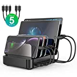 Seenda USB Charging Stations - 5 Port 50W 10A USB Charging Dock Organizer Multi Device USB Charging Station with 3 Pack Micro USB Cable and 2 Pack USB C Cable for Tablets & Smartphones
