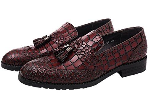 Tassel Crocodile - SANTIMON Dress Shoes Tassel Slip-On Alligator Crocodile Print Venetian-Style Genuine Leather Dress Shoes Red 9.5 D(M) US