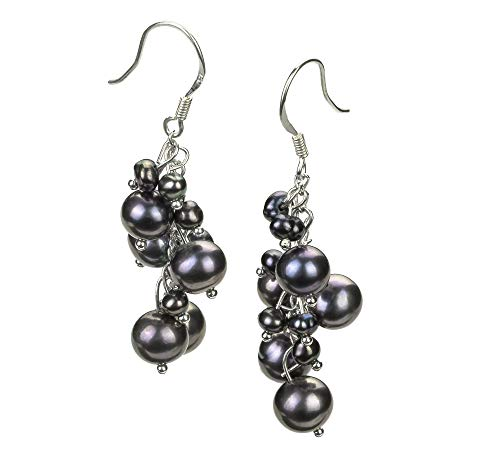 Brisa Black 3-7mm A Quality Freshwater Alloy Cultured Pearl Earring Pair For Women