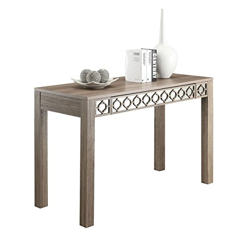 Helena Driftwood Beige Finished Eco-friendly Engineered Wood Manufactured Writing Desk in Vintage Aged Mirror Backdrop