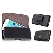 Kingsource (TM) Samsung GALAXY S3/S4/S5 genuine Leather Holster Pouch Case with Magnetic Closure with Belt Clip and Belt Loops fits the Phone + otterbox / commuter / Symmetry / Spigen Armor/UAG/Lifeproof / hybrid protective case (Samsung GALAXY S3/S4/S5 black)