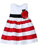 Wexinbuy Kid Girl Wide Stripe Sleeveless Flower High Waist Beach Dress 5-6T