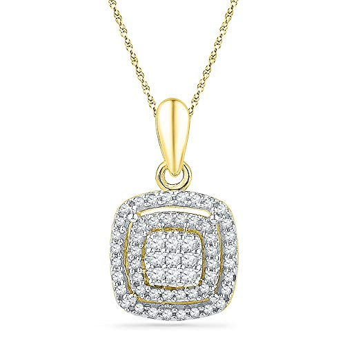 Dazzlingrock Collection 10kt Yellow Gold Womens Round Diamond Square Frame Cluster Pendant 1/4 Cttw