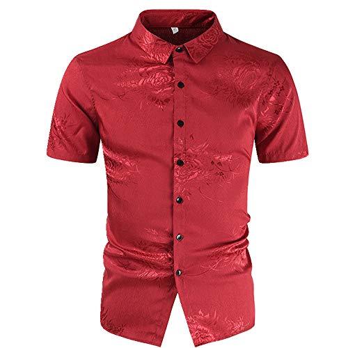 NOBRAND Camisa de manga corta para hombre bordada
