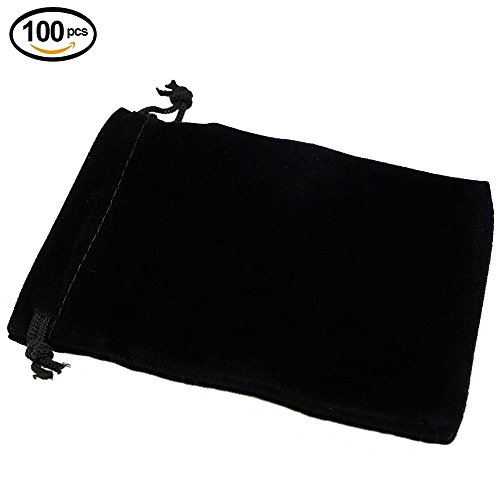 Wuligirl 100 PCS Velvet Jewelry Pouches Drawstring Bags Cloth Gaming Dice Fingertip Gyro Bag Gift Bags (100PCS Black, 5x6