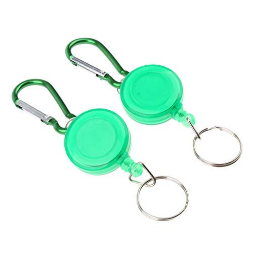 Baosity 2pcs Retractable Key Chain Badge Reel Recoil Key with 20