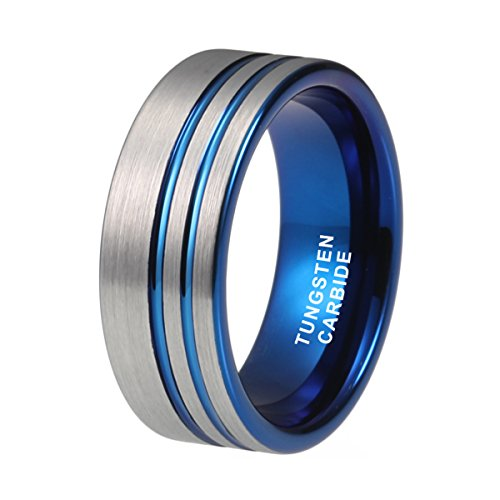 Tungsten Double Black Line (Blue Tungsten Wedding Band Ring 8mm Double Offset Lines Pipe Cut Comfort Fit (13))
