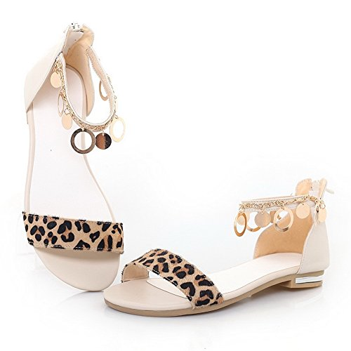 Amoonyfashion Open Toe Open Toe Materiali In Misto Colori Sandali Assortiti Con Leopardo E Albicocca In Metallo