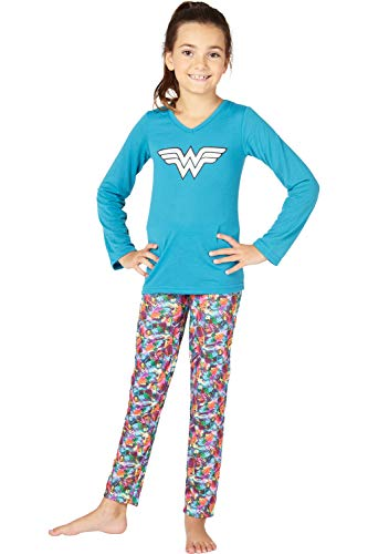 Wonder Woman Big Girls' Wonder Woman Athletic Yoga Pajama Set, Turquoise, 7/8 -