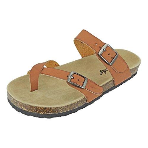 82c0b7b43 Outwoods Women s Bork-30 Vegan Leather Adjustable Strap Toe-Loop Buckle  Flats Sandals (8 B(M) US