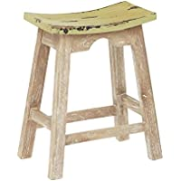 OSP Designs 24 Saddle Stool, White Wash/Rustic Sage