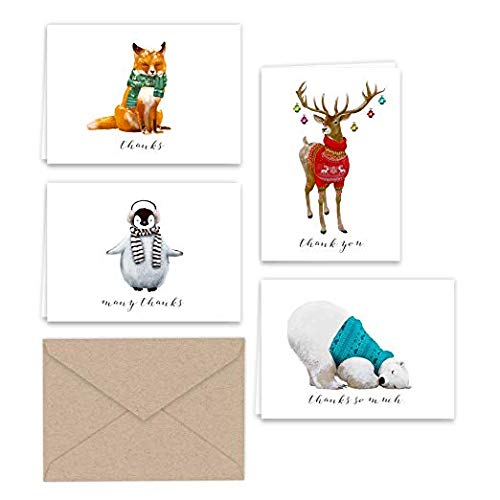 Paper Frenzy Winter Animals Thank You Note Cards and Kraft Envelopes 24 pack (Thank Cards You Winter)