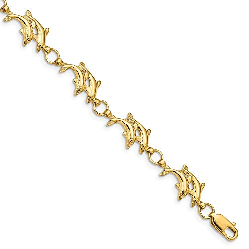 (FB Jewels Solid 14K Yellow Gold 8In Polished Open-Back Yellow Gold Double Dolphins Bracelet)