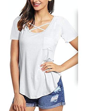 f878f936f6ec roswear Women's Casual Criss Cross Solid Top Round Neck Short Sleeve T Shirt