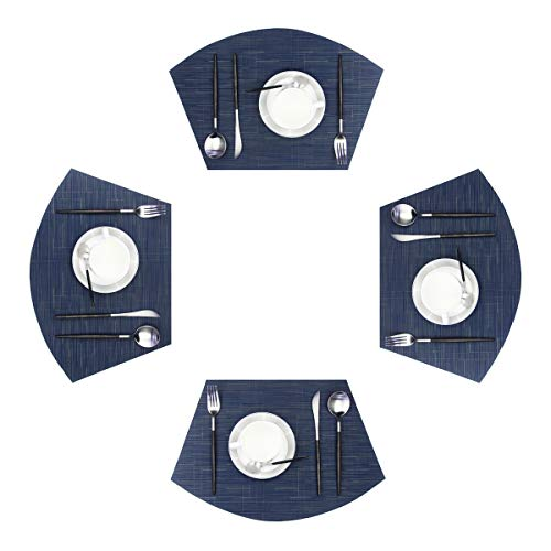 pigchcy Wedge Shape Placemats for Round Table Cross-Weave Washable Vinyl Placemat Heat-Insulating Wedge Table Mats Set of 4 (Navy Blue)