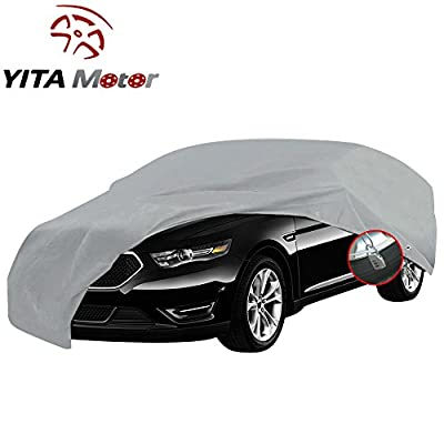 YITAMOTOR Full Sedan Car Cover Universal Fit Snow Rain Dust Sun UV Resistant Waterproof Gray