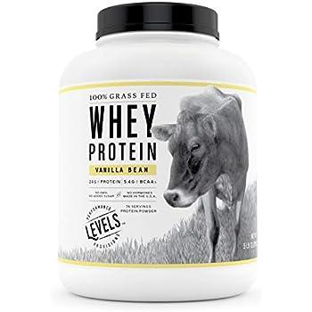 Levels 100% Grass Fed Whey Protein, No GMOs, Vanilla Bean, 5LB