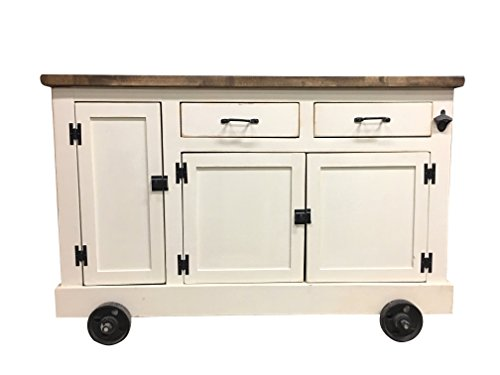 Farmhouse Industrial Kitchen Island with handy roll out Trash Container