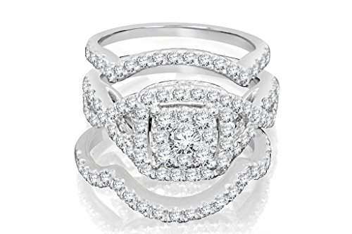 Diamond Band Halo Ring Set 10K White Gold, 2 Carat Real Diamond Engagement Ring
