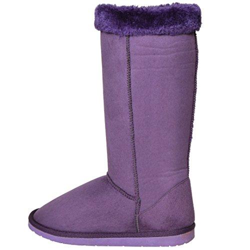 Generación Y Para Mujer Botas De Media Pantorrilla Cuff Cuff Trimming Casual Pull En Zapatos Púrpura