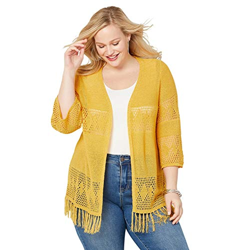 (Avenue Women's Fringe Cardigan, 26/28 Yellow)