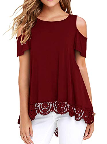 Women's Summer Short Sleeve Lace Trim O-Neck A-Line Cold Shoulder Tunic Tops Blouses Burgundy ()