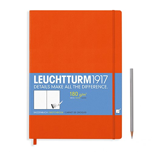Leuchtturm1917 A4+ Master Hardcover Sketchbook, 8.85 X 12.5 inches, 96 Pages of 180g Brilliant White Plain Paper, Orange (345004)