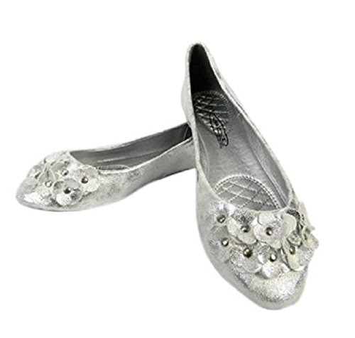 Silver Metallic Studded Ballerina Style Pumps Available in ALL SIZES A3LCsO