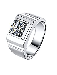 Solid Silver Man Ring 1CT Simulate Diamond Solitaire Ring for Male Engagement