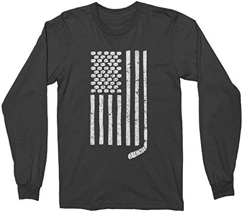 Mixtbrand Hockey Pucks and Stick American Flag Adult Long Sleeve T-shirt L Black
