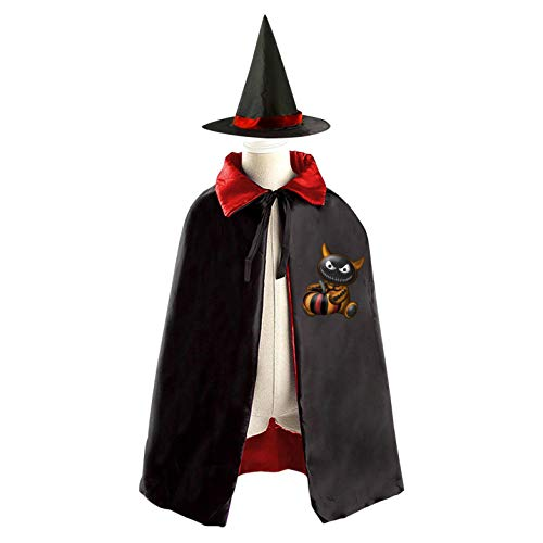 69PF-1 Halloween Cape Matching Witch Hat Black Cat Puppet Wizard Cloak Masquerade Cosplay Custume Robe Kids/Boy/Girl Gift Red