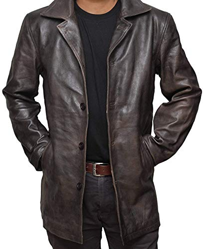 Brown Distressed Natural Real Leather Jacket | Supernatural, L