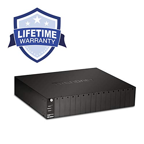 TRENDnet 16-Bay Fiber Converter Chassis System, Hot Swappable, Housing for up to 16 TFC Series Media Converters, Fast Ethernet RJ45, RS-232, SNMP Management Module, Lifetime Protection, TFC-1600 (Rs 232 Protection Module)