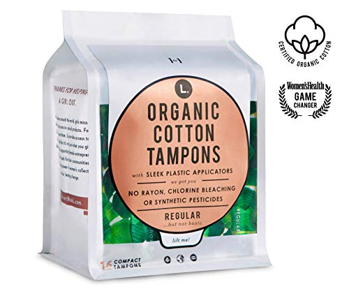 L. Organic Cotton Tampons with BPA-Free Applicators, Regular Absorbency, 16 Count, 3 Pack