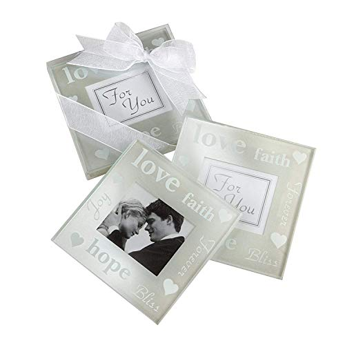 (Kate Aspen Good Wishes Pearlized Glass Photo Coaster (6 Sets of 2, 12 Coasters) - Perfect Table Décor or Party Favors for Weddings, Baby Showers, Bridal Showers or Birthdays )