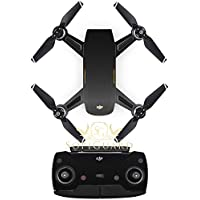 SopiGuard Brushed Black Fiber Precision Edge-to-Edge Coverage Vinyl Sticker Skin Controller 3 x Battery Wraps for DJI Spark