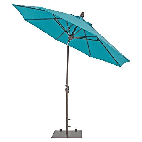 TrueShade Plus Market Outdoor Umbrella with Sunbrella Fabric Auto Tilt and Crank Includes Storage Cover (9' Diameter Canvas Aruba) (Sunbrella Fabric Waterproof)