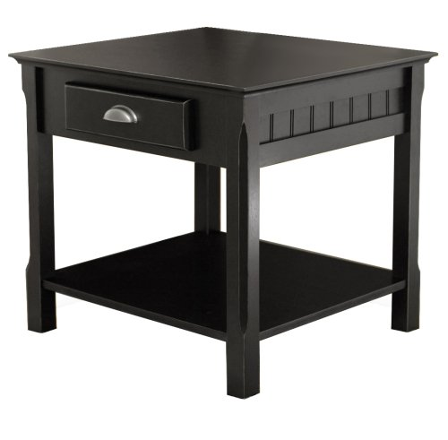 Winsome Wood End Table with Drawer and Shelf, Black 20124