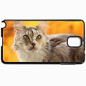 Customized Cellphone Case Back Cover For Samsung Galaxy Note 3, Protective Hardshell Case Personalized Cat Snout Yellow Background Blurring Black