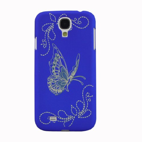 Iwotou Vivid Butterfly Rubberized Shell Skin Hard Back Case Cover for Samsung Galaxy S4 SIV i9500 + Free Accessories (Blue)