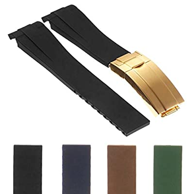 StrapsCo 20mm Premium Silicone Rubber Replacement Watch Band Strap for Oysterflex w/Yellow Gold Clasp from StrapsCo