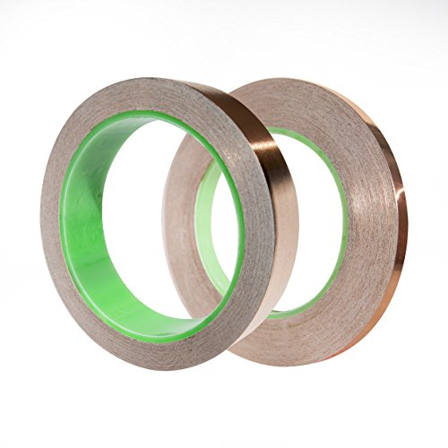 FREELY Copper Foil Tape, for Guitar & EMI Shielding, Soldering, Slug Repellent, Craft, Decorative - STRONG CONDUCTIVE ADHESIVE - 2 Pack (1 Inch x 15 Yards & 1/4 Inch x 40 Yards)