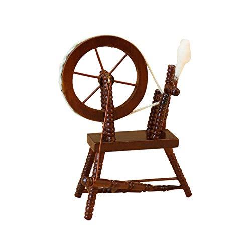 ETbotu Retro Mini Spinning Wheel for 1:12 Doll House Furniture Accessories Random Color